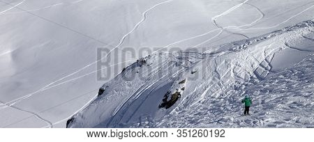 Skier Descends On Snowy Off-piste Ski Slope At High Winter Mountains. Caucasus Mountains. Georgia, R