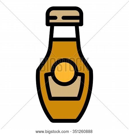 Mustard Bottle Icon. Outline Mustard Bottle Vector Icon For Web Design Isolated On White Background