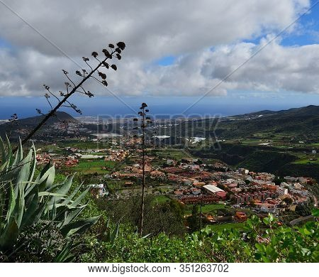Small Country Town, Blue Sky And Clouds, Valsequillo De Gran Canaria, Canary Islands
