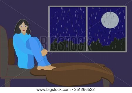 Insomnia. Woman Suffers From Insomnia In His Bed. Flat Concept With Sad Unhappy Young Woman Sitting