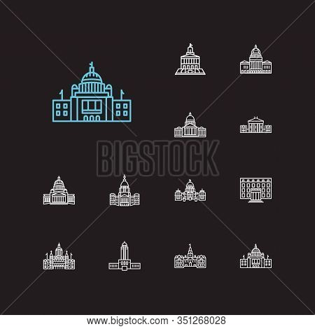 Us Capitols Icons Set. Alaska State Capitol And Us Capitols Icons With Downtown, Architecture And Fa