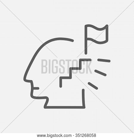 Ambitious Person Icon Line Symbol. Isolated Illustration Of Icon Sign Concept For Your Web Site Mobi