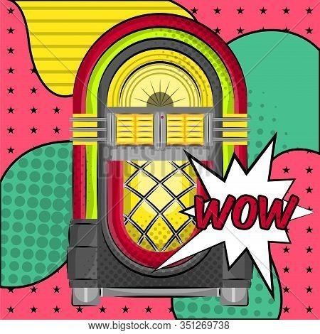 Neon Jukebox On A Halftone Comic Background. Pop Art - Vector