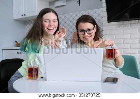 Laughing Smiling Happy Mother And Daughter, Communication Between Parents And Adolescents, Women And