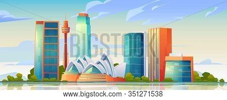 February 12, 2020. Vector Cartoon Illustration Of Sydney Landmarks, City Skyline With Opera House Ba