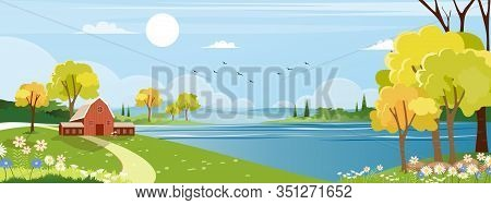 Agriculture, Background, Barn, Beautiful, Blossom, Blue Sky, Cartoon, Country, Countryside Landscape