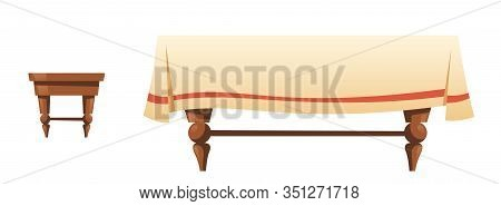 Wooden Stool And Table With Linen Cloth Isolated On White Background. Vector Cartoon Household Furni