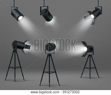 Spotlights For Studio Or Stage. Vector Realistic Set Of Glowing Floodlights For Illumination Show, C