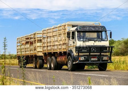 Omaheke, Namibia - February 11, 2020: Agricultural Trailer Truck Mercedes-benz Ng At The Interurban