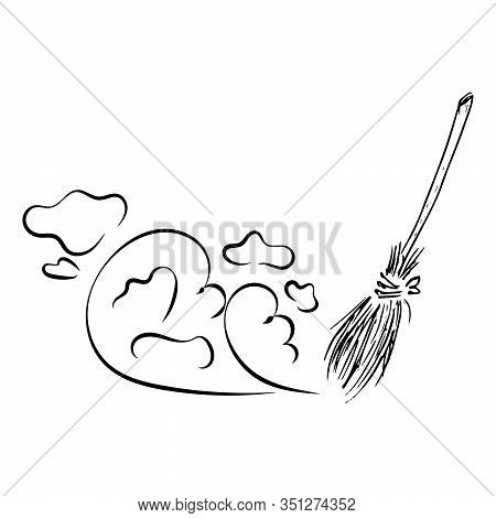Broom For Cleaning. Vector Illustration Of A Broom And Dust. Hand Drawn Broom.