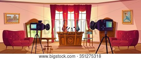 Empty Conference Room For Presidents Or Government Negotiations With Tribune, Microphones And Flags