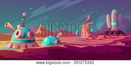 Landscape Of Mars Surface With Colony Buildings. Astronaut Base On Red Planet. Vector Cartoon Futuri