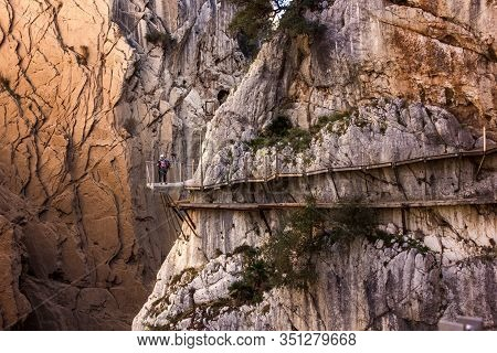 View Of Beautiful Mountains, Amazing Nature And Nice Green Trees And Rocks At Caminito Del Rey. Cost