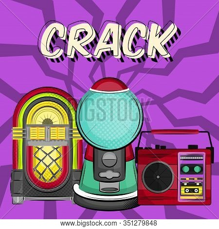 Neon Jukebox, Vintage Radio And Gumball Machine With A Comic Expression. Pop Art Illustration - Vect