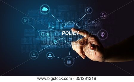 Hand touching POLICY inscription, Cybersecurity concept