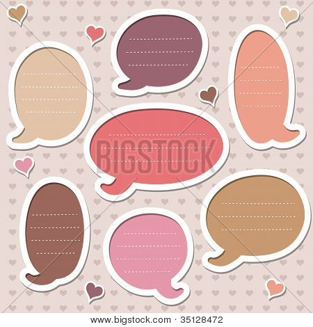 Collection of  pink speech bubbles