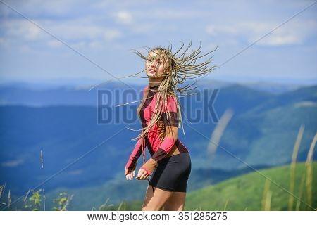 Athletic Girl Enjoy Trekking. Vacation Ideas. Healthy Lifestyle. Sporty Tourist Hiker Trekking. Summ
