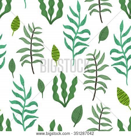 Cute Greenery Seamless Pattern With Mess Of Green Hand Drawn Leaves And Branches On White Background