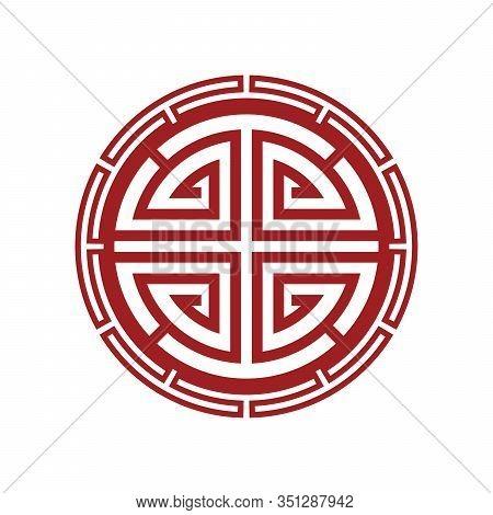 Chinese Traditional Circle Symbol. Japanese, Korean Circle Ornament.