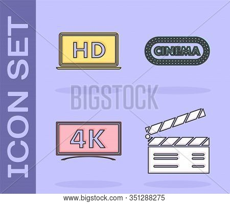 Set Movie Clapper , Laptop Screen With Hd Video Technology , Screen Tv With 4k Ultra Hd Video Techno