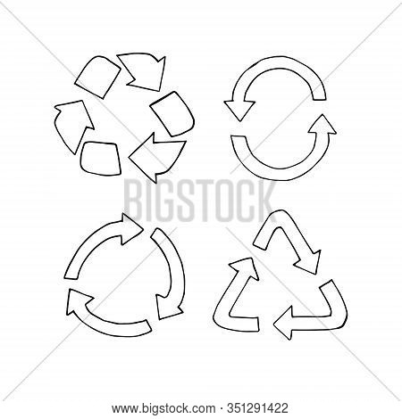 Vector Set Bundle Of Hand Drawn Doodle Sketch Recycle Symbol Isolated On White Background
