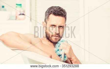 Cleaning Parts Body. Hygiene Concept. Man Use Sponge Cleaning Skin. Hygienic Procedure Concept. Tota