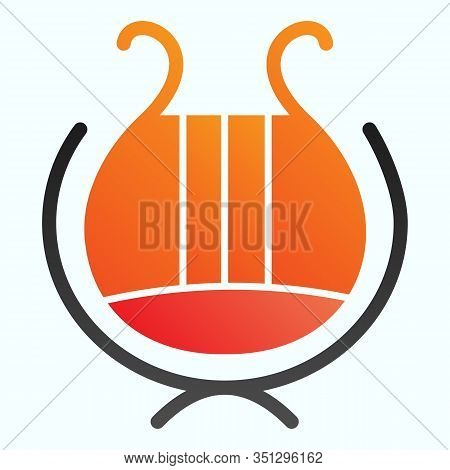 Greek Lyre Instrument Flat Icon. Ancient Lira Instrument Vector Illustration Isolated On White. Musi