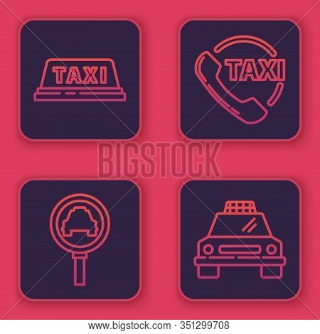 Set Line Taxi Car Roof, Magnifying Glass And Taxi Car, Taxi Call Telephone Service And Taxi Car. Blu