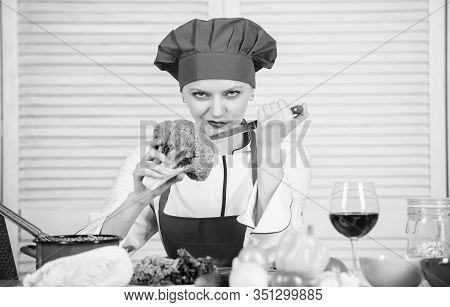 Woman Professional Chef Hold Raw Broccoli Vegetable. Free Healthy Vegetarian And Vegan Recipes. How