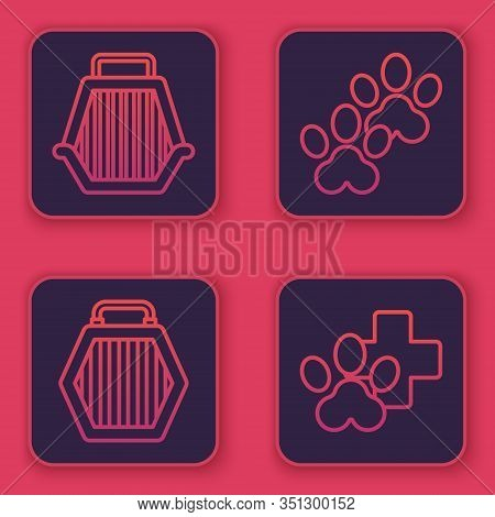 Set Line Pet Carry Case, Pet Carry Case, Paw Print And Veterinary Clinic Symbol. Blue Square Button.