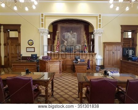 May 30, 2019, Findlay, Oh, Vintage Old Fashioned Courtroom Interior Tables And Chairs Of Defense And