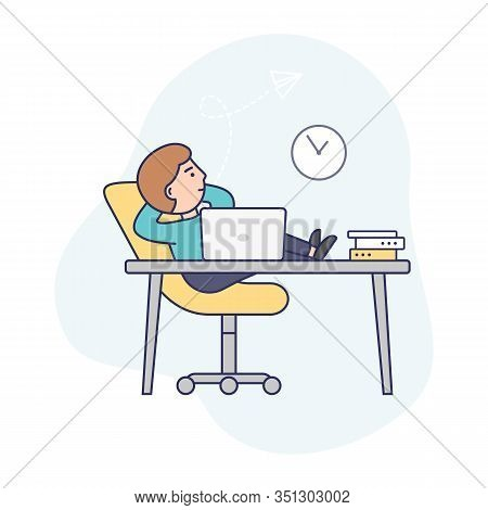 Concept Of Deadline, Term And Time Waste. Procrastinating Businessman Is Sitting At Workplace With L