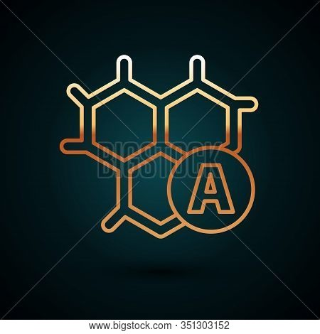Gold Line Chemical Formula Icon Isolated On Dark Blue Background. Abstract Hexagon For Innovation Me