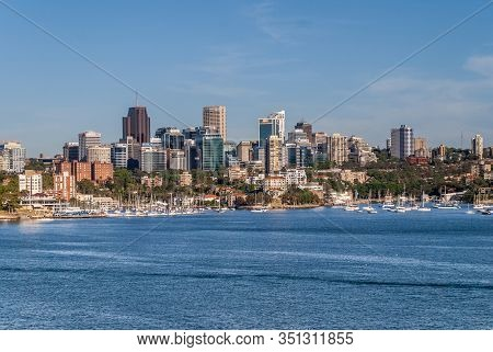 Sydney, Australia - December 11, 2009: Highrise Office Buildings Grouped On Northern Shore Of Bay Wi