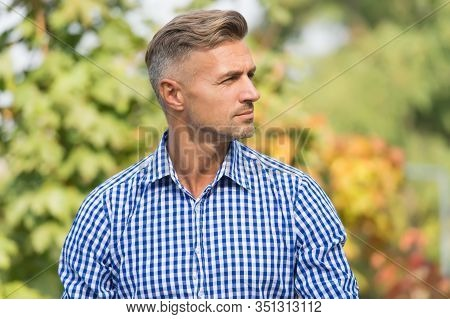 Treat Your Hair Today. Handsome Man With Stylish Hair Outdoor. Blond Guy With Unshaven Facial Hair.