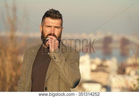 Smoking Habit Or Addiction. Smoking Addict Or Smoker. Bearded Man Smoke Cigarette. Hipster Enjoy Smo