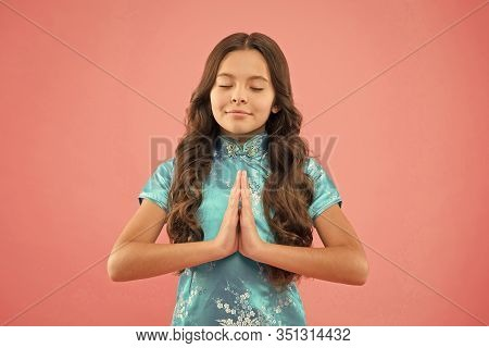 Practice Mudras During Meditation. Little Child Do Meditation Holding Palms Together. Small Girl Enj