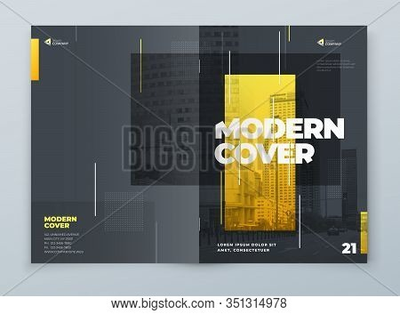 Brochure Template Layout Design. Yellow Grey Corporate Business Brochure, Annual Report, Catalog, Ma