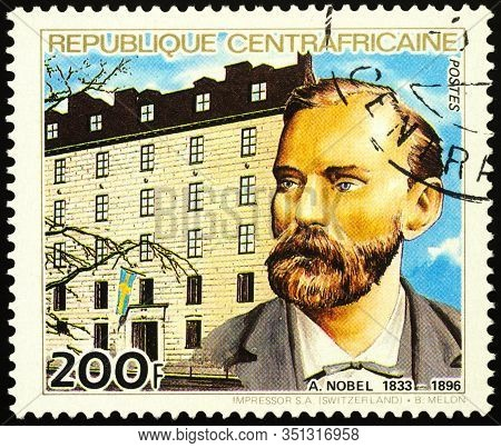 Moscow, Russia - February 17, 2020: Stamp Printed In Central African Republic, Shows Alfred Nobel (1