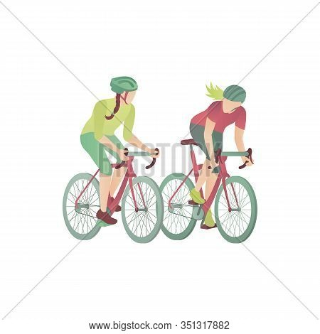 Two Girls On Bicycles, Flat Vector Illustration. Women In The Park Race By Mountain Bikes. Two Cycli