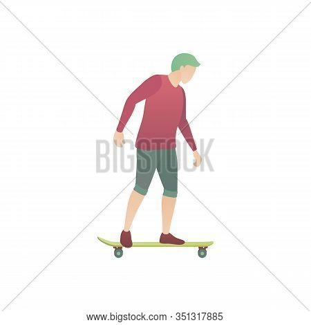 A Man Rides On A Skateboard, A Flat Vector Illustration. A Boy Skater Keeps Balance And Skateboardin