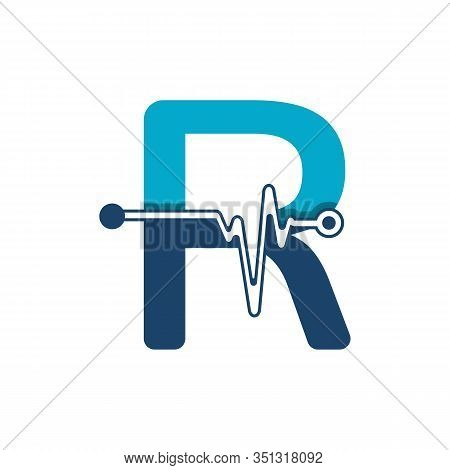 Letter R With Pulse Logo Vector Element Symbol Template