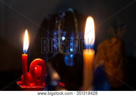 Fortune Telling, Ritual, Magic, Clairvoyance, Witchcraft In The Night. Soft Focus, One Candle Out Of