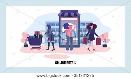 Online Shopping Concept. Woman Visit Online Store And Make Payment On Mobile Phone. Business, Techno