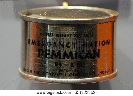 New Orleans, Louisiana, U.s.a. - February 5, 2020 - The Emergency Ration Pemmican 84-r(a) Distribute
