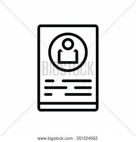 Black Line Icon For Profile Delineation Figuration Resume Summary Elaboration Document Recruitment