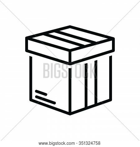Black Line Icon For Box Pack  Packing Parcel Shipping Container  Case