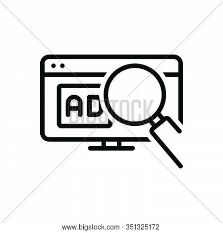 Black Line Icon For Search-ad Search Ad Digital Magnifier Online Promotion Sign Website Advertisemen