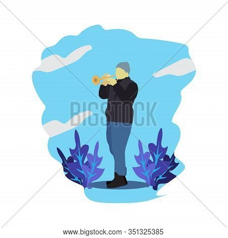 Trumpet Player With A Trumpet Or Pipe Stands. Vector Man In Suit Playing A Musical Instrument. Flat