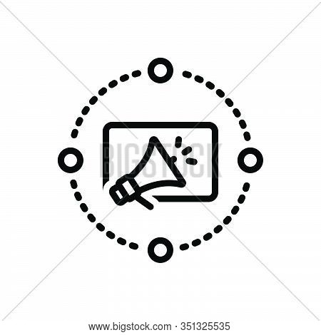 Black Line Icon For Marketing-advertising Marketing Advertising Reclame Blurb Digital Megaphone Adve
